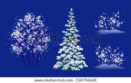 Vector set of snow covered winter trees, isolated on a dark blue background - stock vector