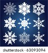 vector set of 9 snowflakes - stock vector