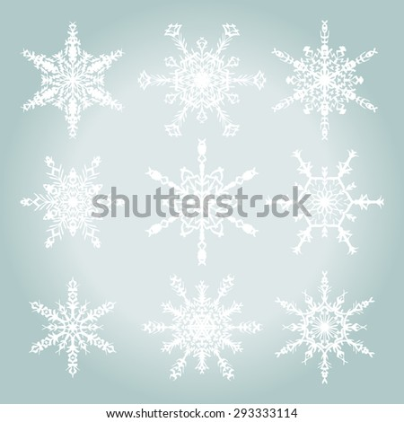 Vector Set of Snowflakes. White snowflakes