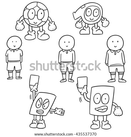 vector set of soccer player, ball, whistle and card cartoon