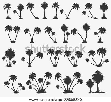 Vector set of solar palm beach in a dark color - stock vector