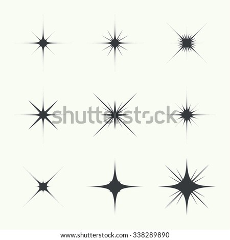 Vector set of sparkle lights stars. Stars with rays, explosion, fireworks. light background - stock vector