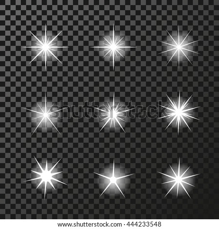 Vector set of sparkles white symbols on the dark background - star glitter, transparency stellar flare. Shining reflections.