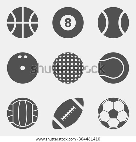 vector set of sport ball icons. basketball, billiard, baseball, bowling, golf, tennis, volleyball, football, soccer - stock vector