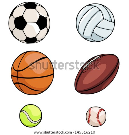 vector set of sports balls: football, volleyball, basketball, rugby, tennis, baseball - stock vector