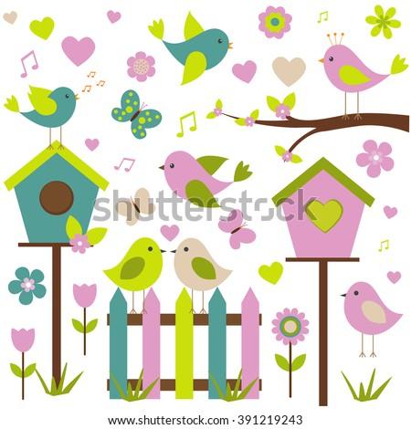 Vector set of spring theme. Love birds, spring plants and butterflies. Made in delicate shades.