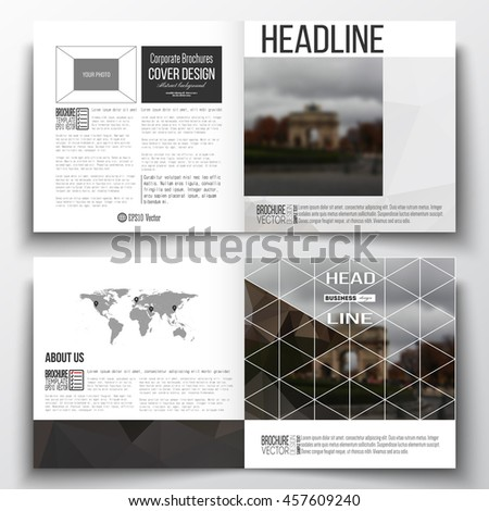 Vector set of square design brochure template. Polygonal background, blurred image, urban landscape, Paris cityscape, modern triangular vector texture. - stock vector