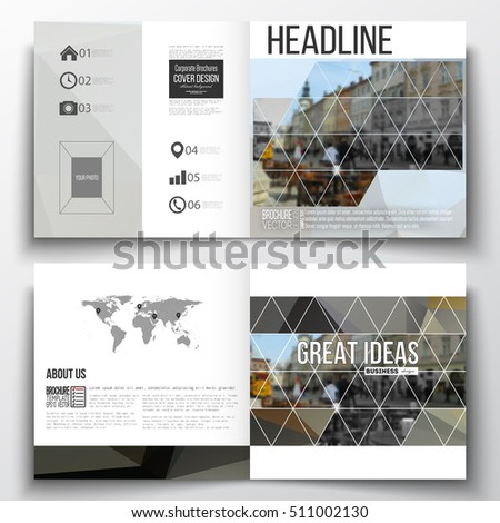 Vector set of square design brochure template. Polygonal background, blurred image, urban landscape, cityscape, modern triangular texture