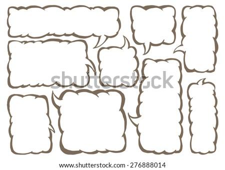 Vector set of squared text ballonos. Group of vector comics messege bubbles. - stock vector