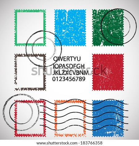 Vector set of stamps and postmarks - stock vector