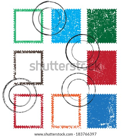 Vector set of stamps and postmarks