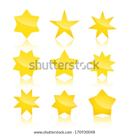 vector set of star icons, logos with reflection - stock vector