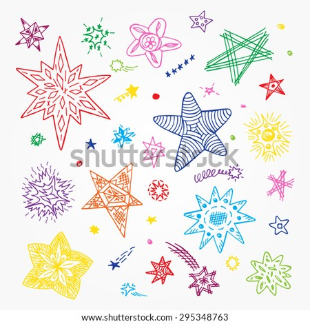Vector Set of Stars. Colorful Stars hand drawn doodles