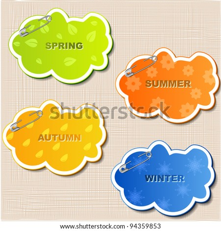vector set of stickers on the canvas background - stock vector