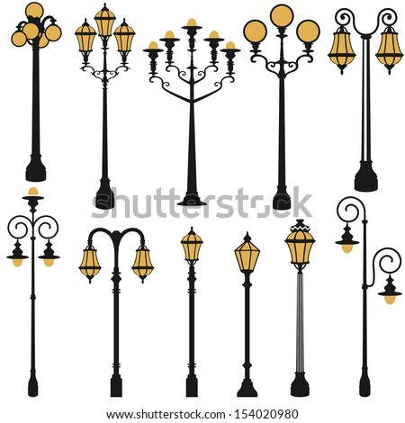 vector set of street lamp set - stock vector