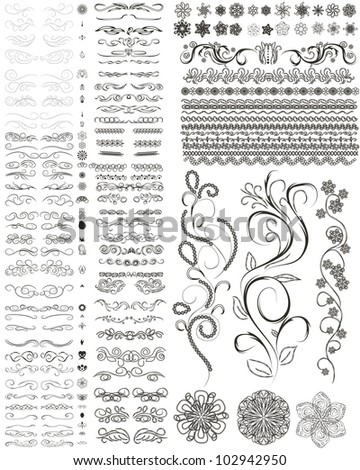 vector set of style design elements, frames, flowers and other. - stock vector