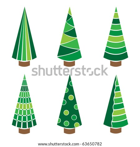 Vector set of stylish christmas tree - stock vector