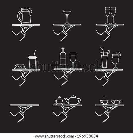 vector set of stylish hand drawn waiter with a tray,drinks icon set isolated on black background - stock vector