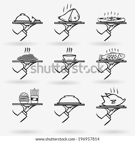 vector set of stylish hand drawn waiter with a tray,first course icon set isolated on white background - stock vector