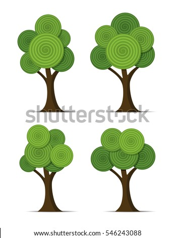 vector set of stylized abstract trees with round spiral shapes