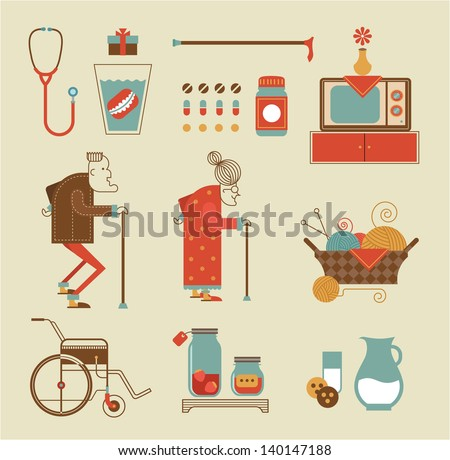 Vector set of stylized granny icons - stock vector