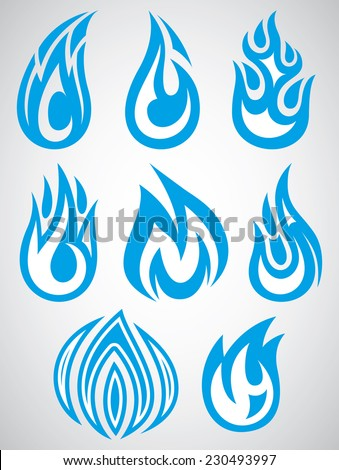 vector set of stylized icons with flames