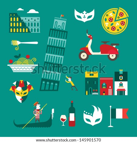Vector set of stylized italy icons - stock vector