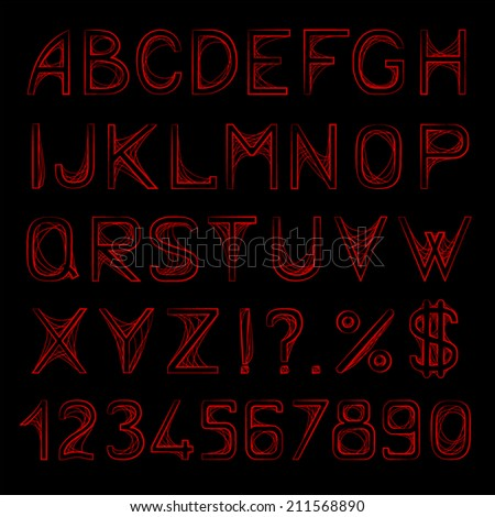 Vector set of stylized letters on the black background