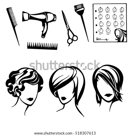 Vector Set Stylized Logo Womens Hairstyles Stock Vector 518307613 ...