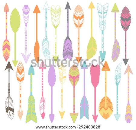 Vector Set of Stylized or Abstract Feather Arrows and Feather Arrow Silhouettes - stock vector