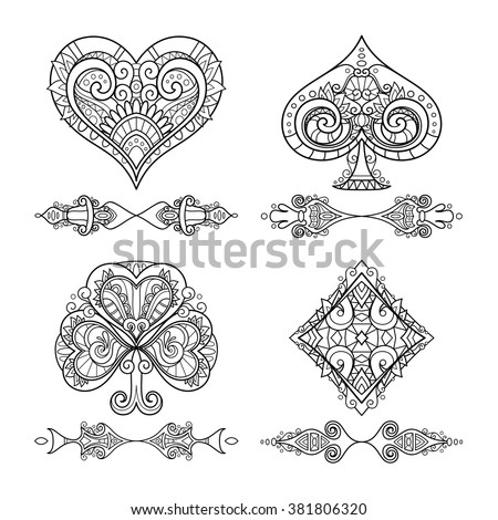 Vector Set of Suit (Playing Card) With Decorative Ornament. Women's Day. Isolated Objects On White Background