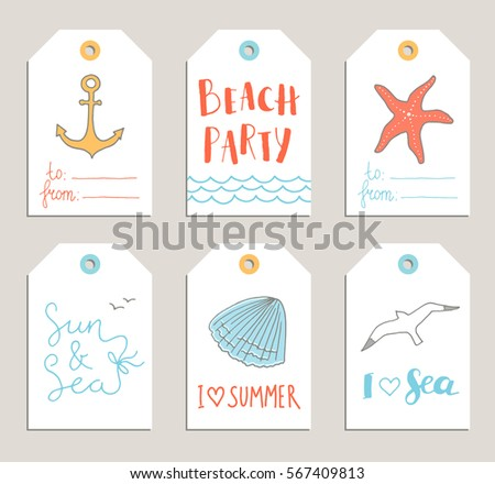 Vector Set Of Summer Tags Cards With Hand Drawn Lettering Anchor Shell