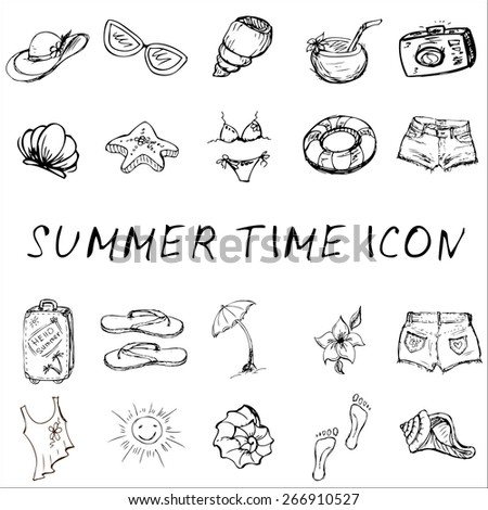 Vector set of summer travel and vacation emblems and symbols,icons, hand-drawn