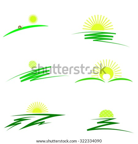 Vector Set of Sun Icons Isolated on White Background