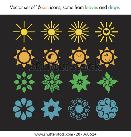 Vector set of 16 sun icons, some from leaves and drops, nature logo, ecology - stock vector