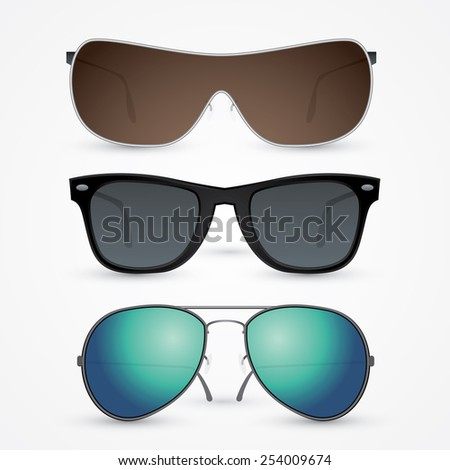 Vector set of sunglasses isolated on white background - stock vector