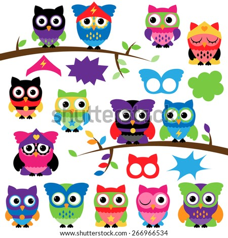 Vector Set of Superhero Owls with Branches and Speech Bubbles - stock vector