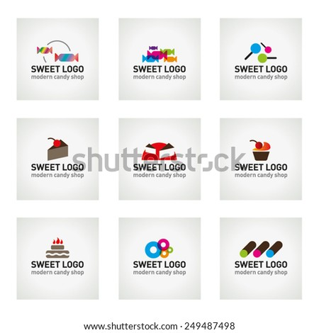 Vector set of Sweet Candy logo icons - Vector Illustration  - stock vector