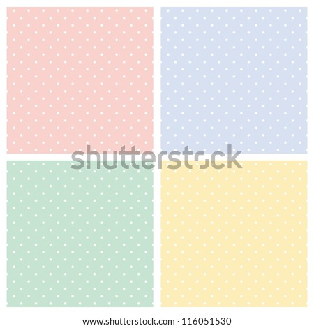 Vector set of sweet seamless patterns or textures with white polka dots on pastel, colorful background: baby pink, blue boy, sunny yellow and spring green - stock vector