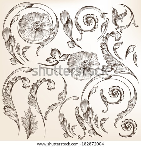 Vector set of swirl elements for design. Calligraphic vector - stock vector
