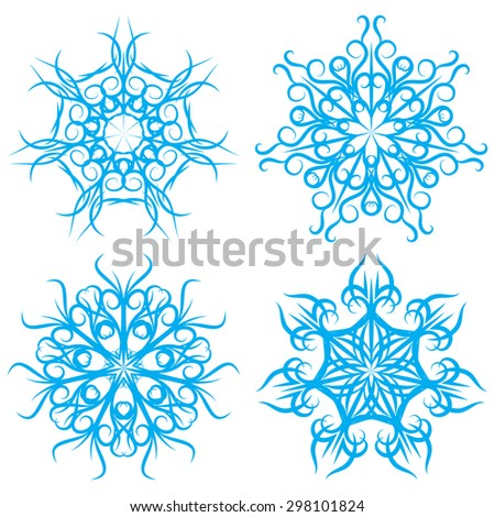 Vector set of symmetrical patterns. Snowflakes or flowers - stock vector