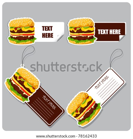 Vector set of tags and stickers with burgers. - stock vector