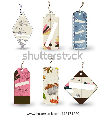 Vector set of 6 tags different shapes. eps8 - stock vector