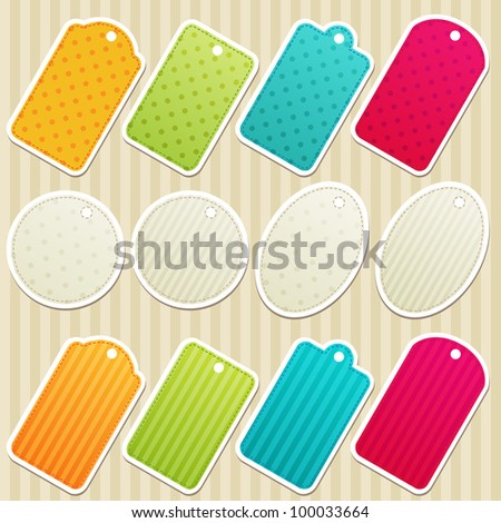 Vector set of tags. EPS 10 - stock vector