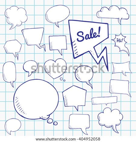 Vector set of talk and think bubbles on notebook sheet , group of doodle speech bubles - stock vector