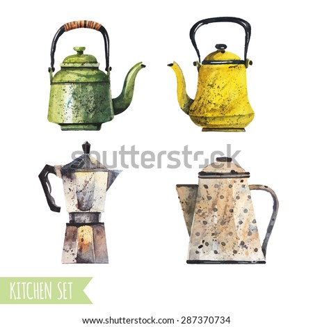 Vector set of tea and coffee in a watercolor style. Enamel and porcelain teapots, coffee geyser. - stock vector