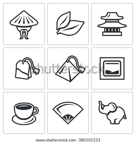 Vector Set Tea Icons China Leaf Stock Vector 380102233 Shutterstock