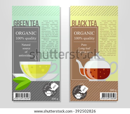 Vector Set Of Tea Labels In Flat Style For Package Green And Black