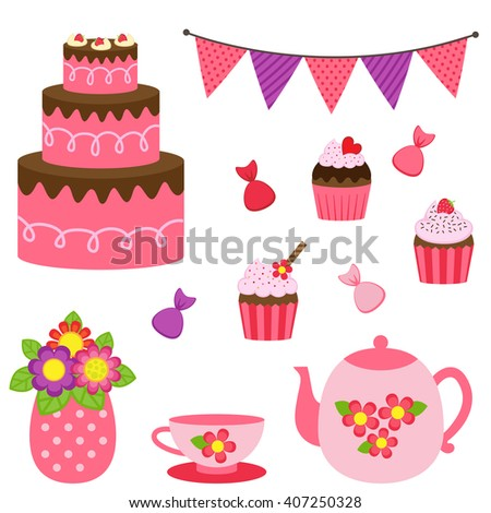 Vector set of tea pots, cups and desserts in red and pink colors - stock vector