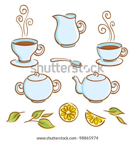 Vector set of tea ware and tea drinking elements